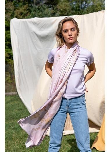 Silk and Cashmere & More Edelina Modal ve Pamuklu Yuvarlak Yaka Kısa Kollu Triko Lila
